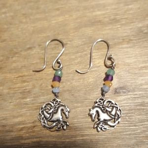 Celtic Horse and Stone Earrings